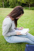 Young serious student sitting in a park while writing on a noteb — Stock Photo