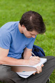 自分のノートに書いている間草の上に座っている若い学生 — ストック写真
