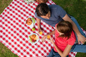 Elevated view of two friends lying on a blanket with a picnic — Stock Photo