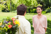Woman enthusiastic as she is about to be suprised — Stock Photo