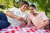 Two friends looking at glasses of champagne during a picnic — Stock Photo