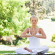 Woman in a yoga position sitting in the park - Stock Photo