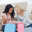 Stock Photo: Two women looking at clothes in shopping bags