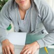 Student Frowning while doing his homework — Stock Photo #10334477