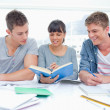 Two students getting help from a female student — Stock Photo #10336428