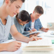 Close up of three students studying hard — Stock Photo