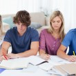 Four students sitting together and studying - Stok fotoğraf