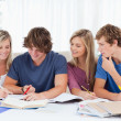 Four students sitting together and trying to get the answer - Foto Stock