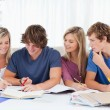 Four students sitting together and trying to get the answer — Stock Photo