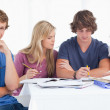 A group of students sitting together as they all study as one sm — Stock Photo