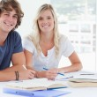 Smiling couple of students looking at the camera — Stock Photo #10337165