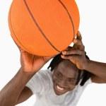 High angle view of smiling basketball player — Stock Photo #10337448