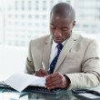 Entrepreneur signing a document — Stock Photo