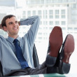 Stock Photo: Happy manager relaxing