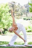 женщина делает разминки упражнения в парке — Стоковое фото