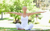 Mulher no parque fazendo seus exercícios de yoga — Fotografia Stock