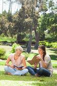 Přátel jejich knihy v parku — Stock fotografie