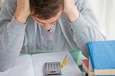 Student tearing while doing math — Stock Photo