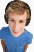 Close-up of a male student wearing headphones — Stock Photo