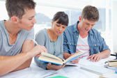 A group of students sitting and working together — Stock Photo