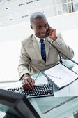 Portrait of a businessman on the phone — Stock Photo