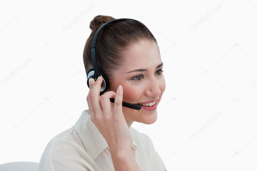 Operator posing with a headset against a white background — Stock Photo #10337657
