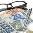 Stock Photo: Money, pen, glasses and pocket calculator