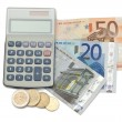 Stock Photo: Cash and coins with pen and pocket calculator
