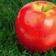 Photo: Red apple and its leaf on grass