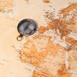 World map with compass showing Africa and Europe — ストック写真