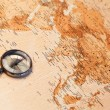 Royalty-Free Stock Photo: World map with compass showing Africa and Asia
