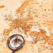 Stock Photo: World map with compass showing Eurasia