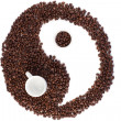 Brown and white symbol made of coffee beans — Stock fotografie #10579993