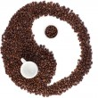 Brown and white symbol made of coffee beans — Stock Photo #10579993