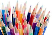 Spousta barevných tužek — Stock fotografie