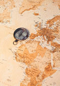 World map with compass showing Africa and Europe — Stock Photo