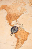 World map with compass showing South America — Stock Photo