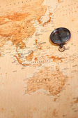 World map with compass showing Oceania — Stock Photo