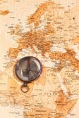 World map with compass showing North Africa and Europe — Stock Photo