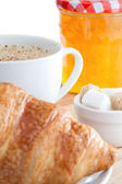 Breakfast with coffee marmalade and croissants — Stock Photo