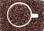 Small white cup of coffee full of coffee beans — Stock Photo