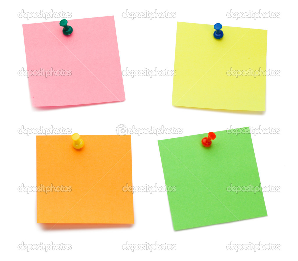 Color post-its with drawing pins on a white background — Stock Photo #10577354