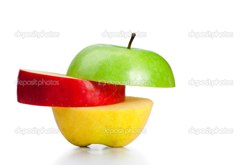 Combination of green, yellow and red apples on a white background — Stock Photo #10577923