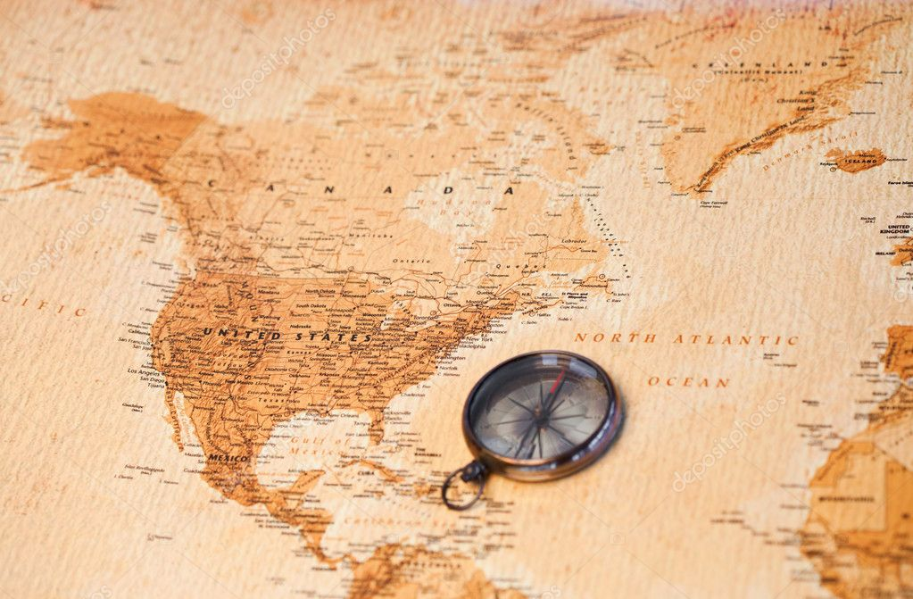 World map with compass showing North America  Stock Photo #10578991