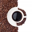 Stockfoto: Cup of coffee and beans