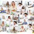 Montage of young adults in the kitchen - Foto Stock