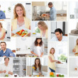 Montage of young adults preparing meals — Stock Photo #10580194