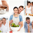 Collage of couples in the kitchen - Stock Photo