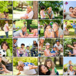 Montage of young adults having fun with their children - Stock Photo