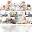 Montage of smiling while cooking — Stock Photo